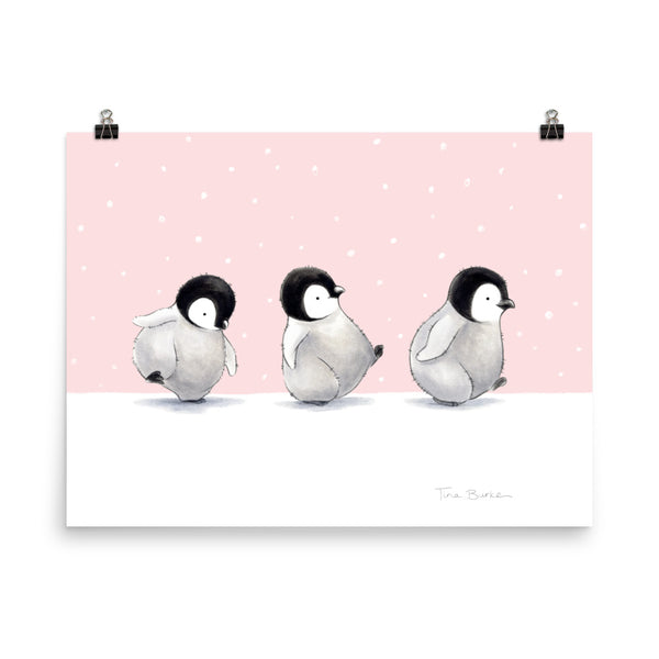"Winter Wonder Series | Art Print | ""Penguin Parade"" (pink)"
