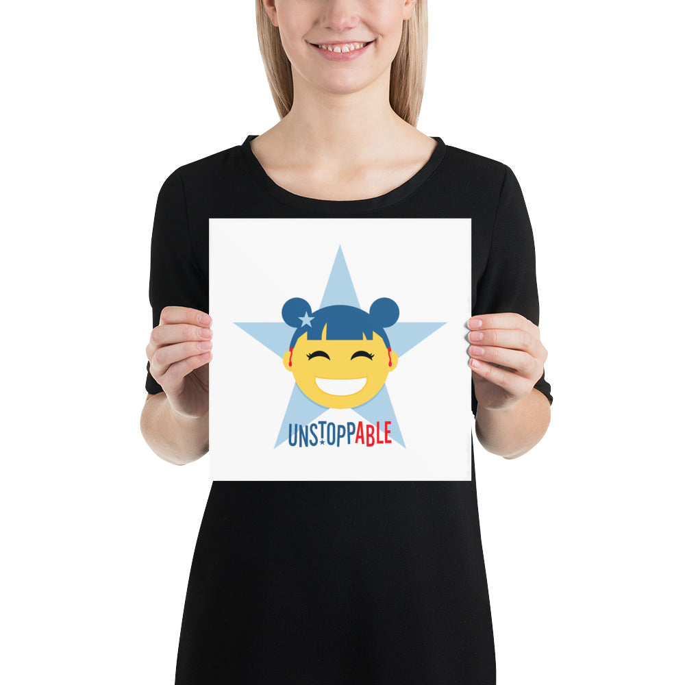 Unstoppable Star with Hearing Aids: ART PRINT | blue/red/girl