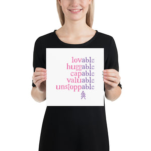Absolutely Able: ART PRINT (with Down Syndrome Symbol) | pink/purple