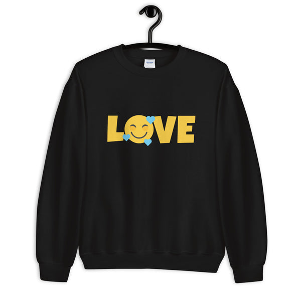 Down Syndrome LOVE Heart Emoji | Unisex Sweatshirt | Blue hearts