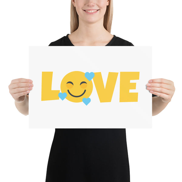 Down Syndrome LOVE Heart Emoji: ART PRINT | blue hearts
