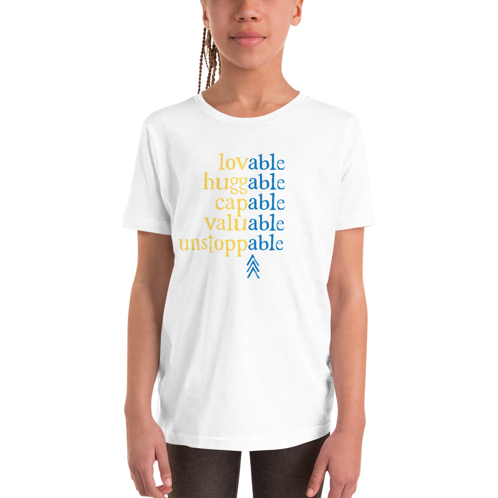 Absolutely Able: YOUTH T-SHIRT (with Down Syndrome Symbol) | blue/yellow