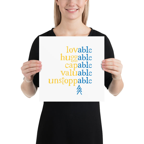 Absolutely Able: ART PRINT (with Down Syndrome Symbol) | blue/yellow