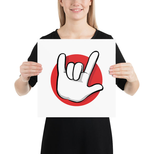 I Love You | American Sign Language: ART PRINT | red