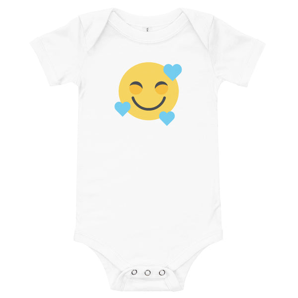 Down Syndrome Heart Emoji: BABY ONE-PIECE | blue hearts