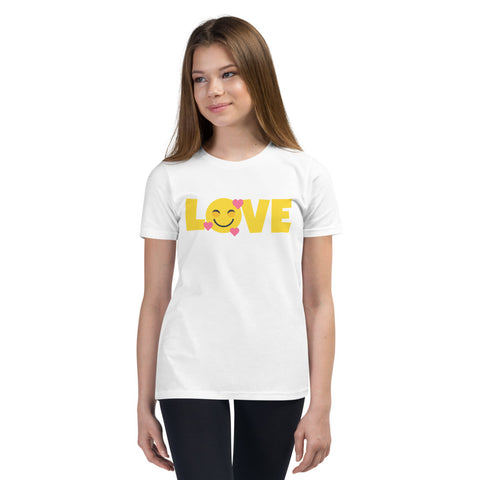 Down Syndrome LOVE Heart Emoji: YOUTH T-SHIRT | yellow/pink
