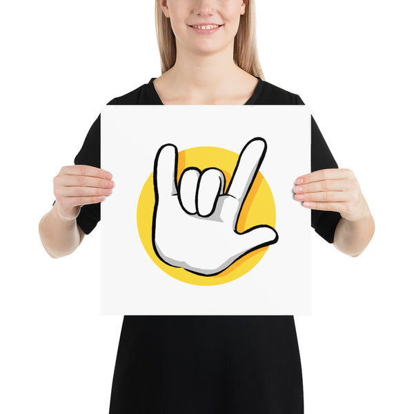 I Love You | American Sign Language: ART PRINT | yellow