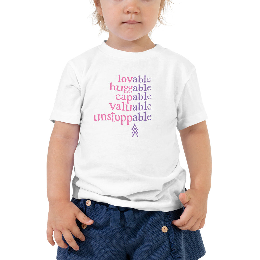 Absolutely Able: TODDLER T-SHIRT (with Down Syndrome symbol) | pink/purple print
