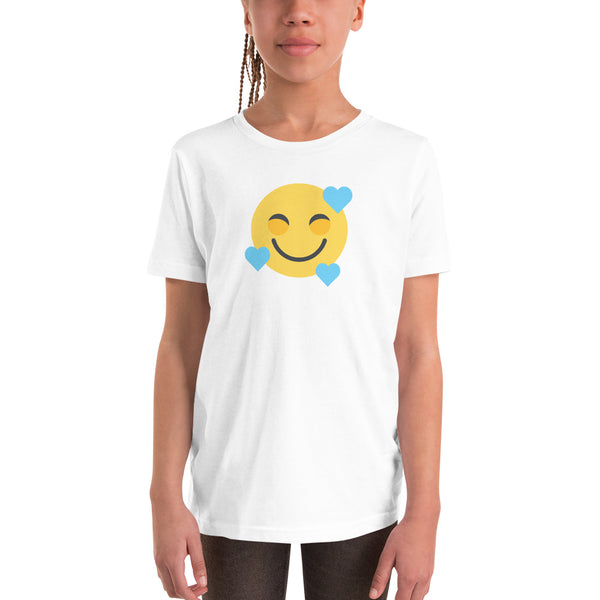 Down Syndrome Heart Emoji: YOUTH T-SHIRT | blue hearts