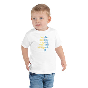 Absolutely Able: TODDLER T-SHIRT (with Down Syndrome symbol) | blue/yellow print