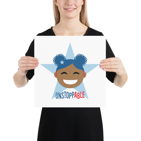 Unstoppable Star with Hearing Aids: ART PRINT | blue/red/girl2