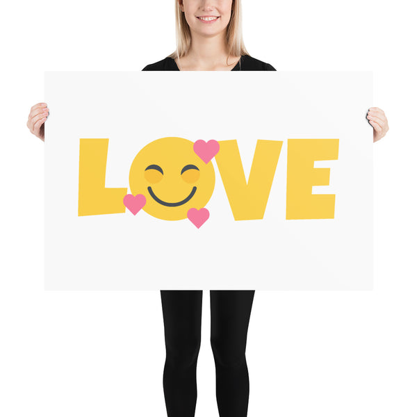 Down Syndrome LOVE Heart Emoji: ART PRINT | Pink hearts