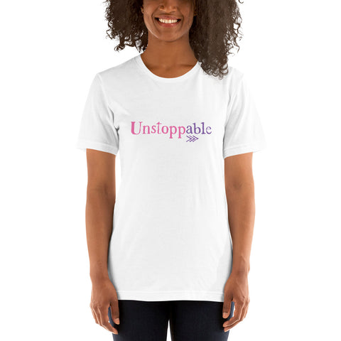 Down Syndrome Unstoppable: UNISEX ADULT T-SHIRT | pink/purple print