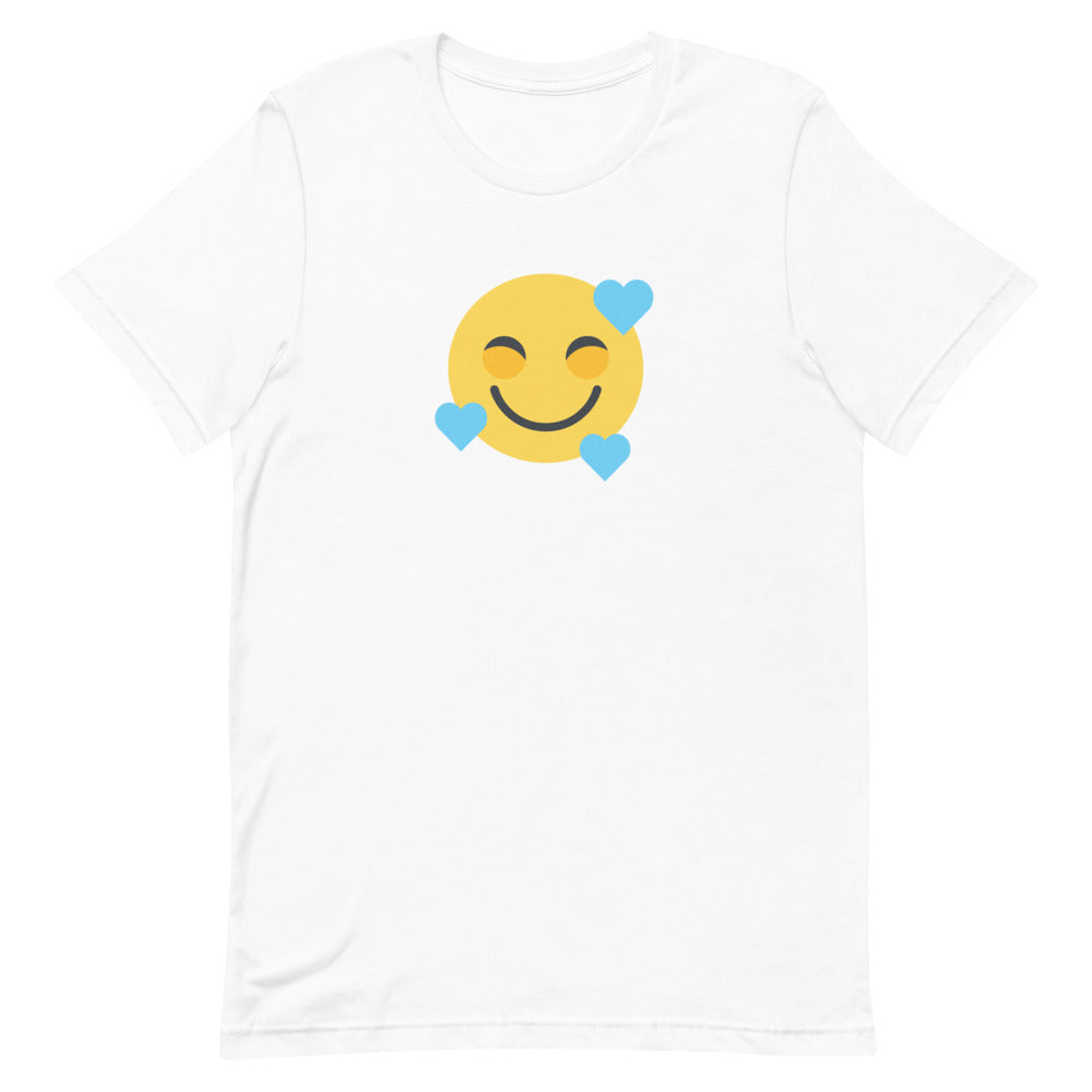 Down Syndrome Heart Emoji: UNISEX ADULT T-SHIRT | blue hearts