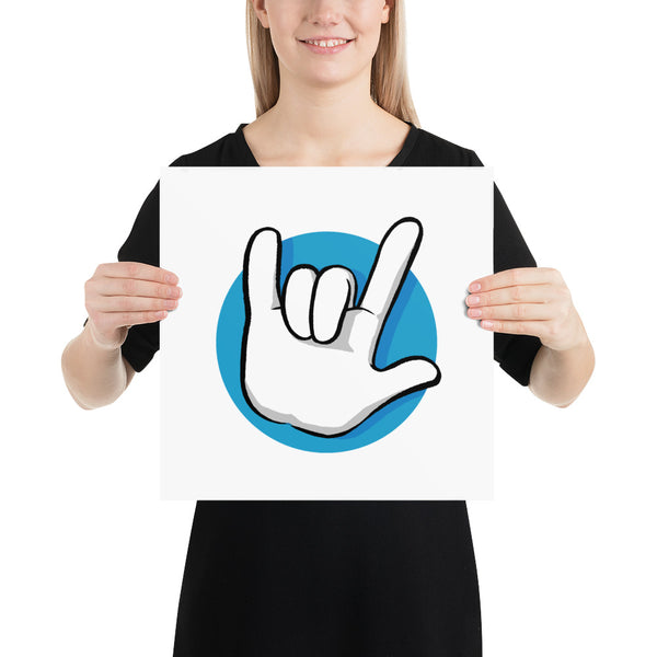 I Love You | American Sign Language: ART PRINT | blue