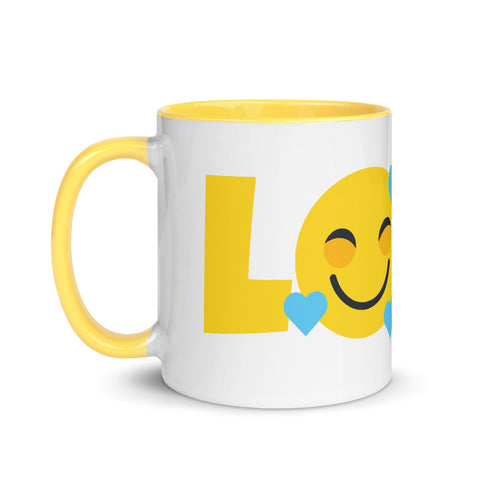 Down Syndrome Love Heart Emoji: MUG | yellow/blue