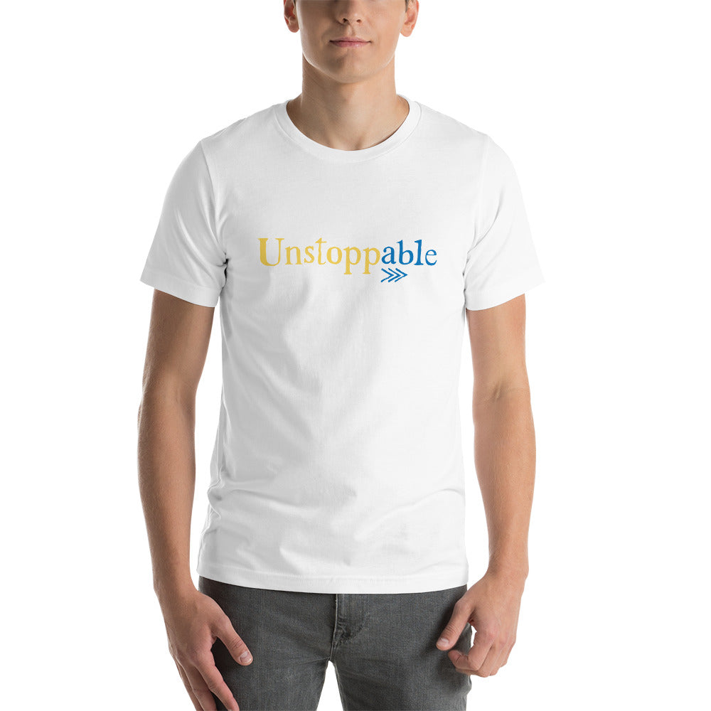 Down Syndrome Unstoppable: UNISEX ADULT T-SHIRT | blue/yellow print