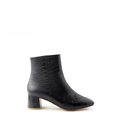 ANKLE BOOT, BLACK CROC