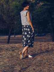 nature dot print cotton top flower print skirt woman