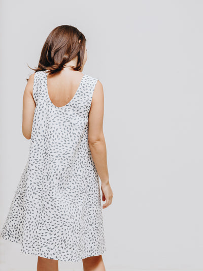 Dot print white Alice dress made obvious organic