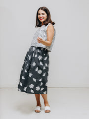 dot print top and flower print skirt organic cotton