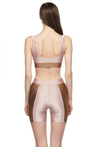 Rose Sable Sports Bra with Low Back and Corset
