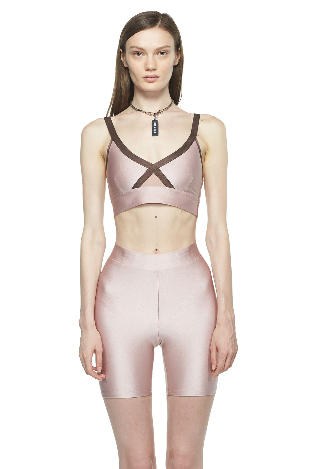 Rose Chocolate Criss Cross Sports Bra
