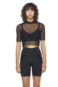 Black Cropped Fitted Mesh Top