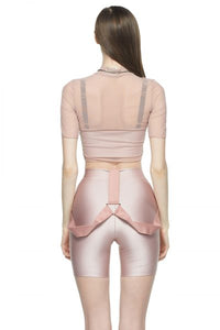 Rose Cropped Fitted Mesh Top