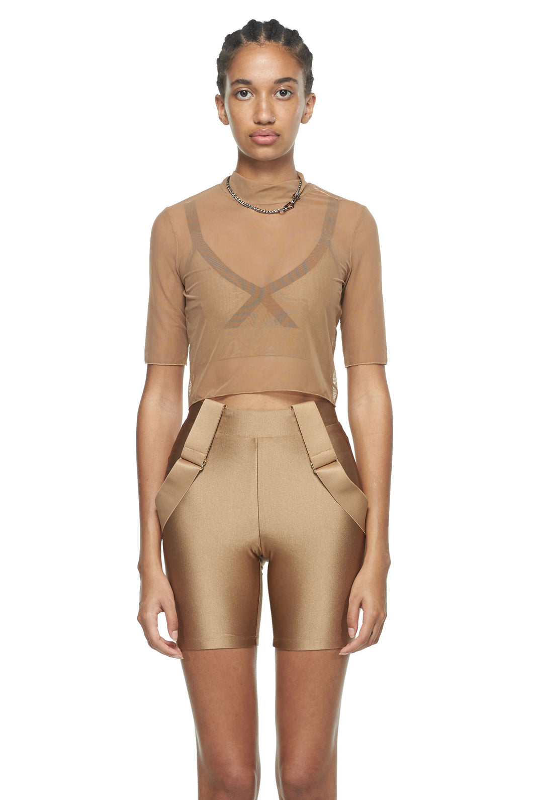 Sable Cropped Fitted Mesh Top
