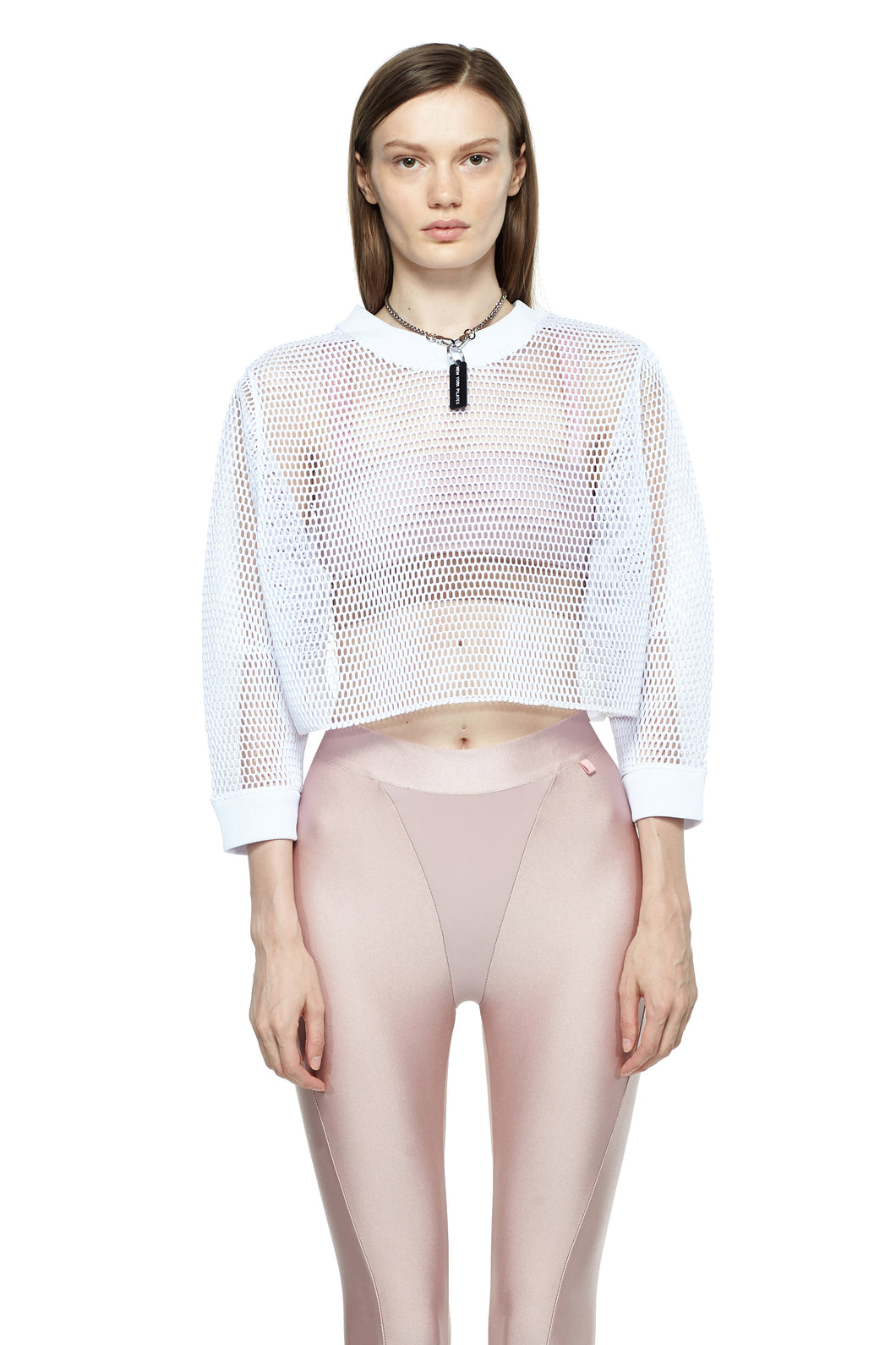White Cropped Mesh Sweatshirt