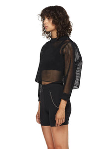 Black Cropped Mesh Sweatshirt