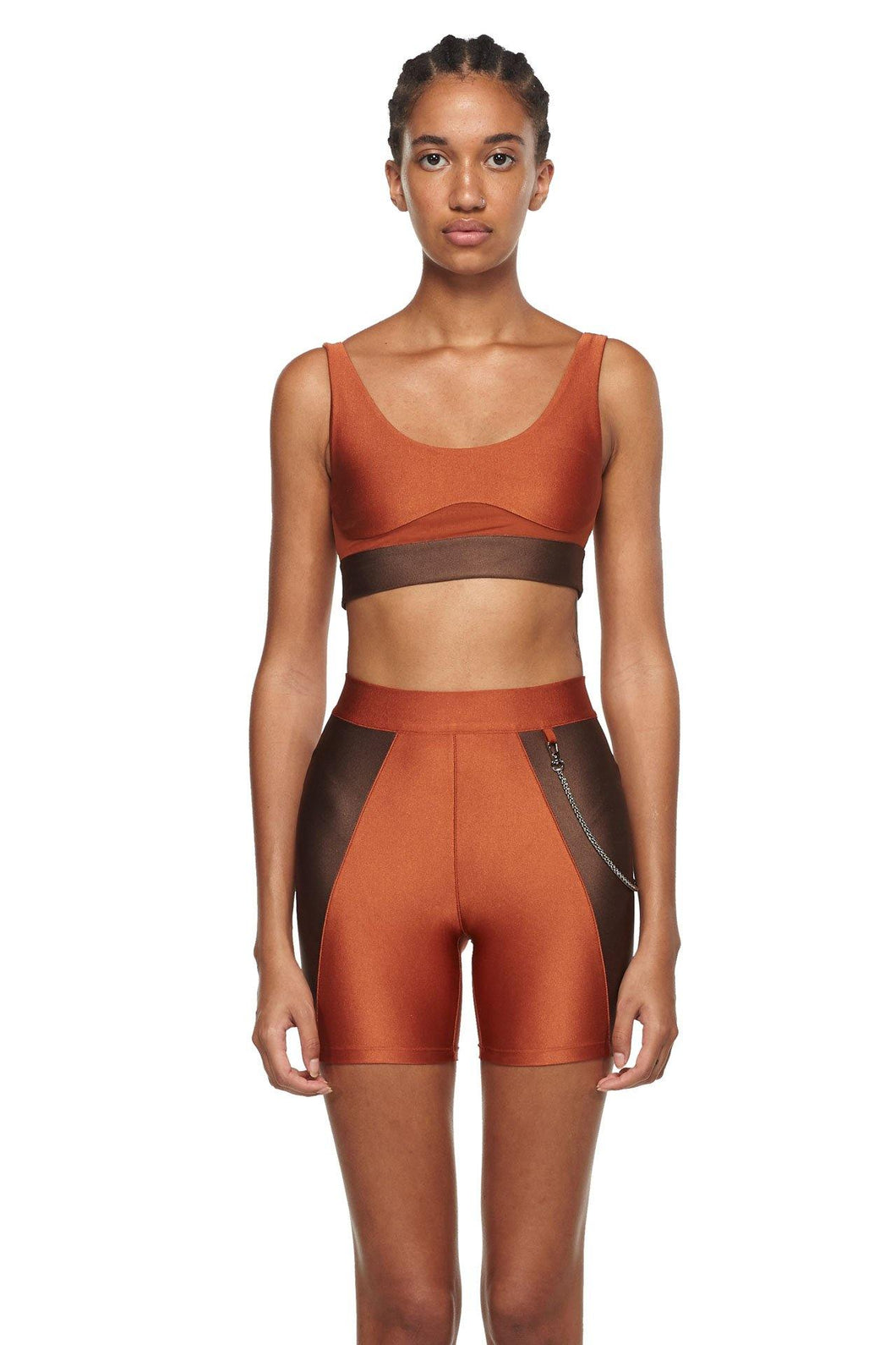 Copper Chocolate Sports Bra with Low Back and Corset