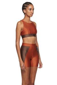 Copper Chocolate Sports Bra with Mesh