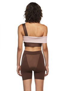 Rose Chocolate Sports Bra with One Strap