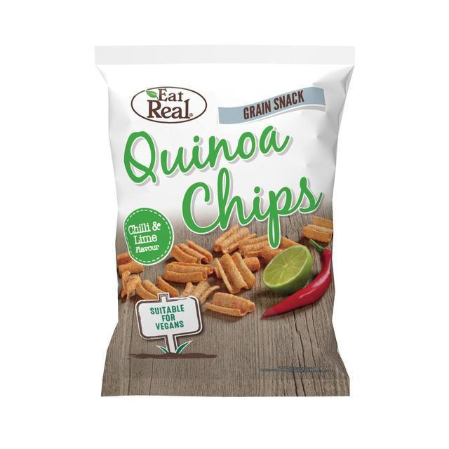 From the ancient and timeless cultures of South America comes a revolutionary new snack made from Quinoa grains.   Eat Real Quinoa Chips are a crunchy and crispy snack made from quinoa flour, flavoured with chilli & lime.