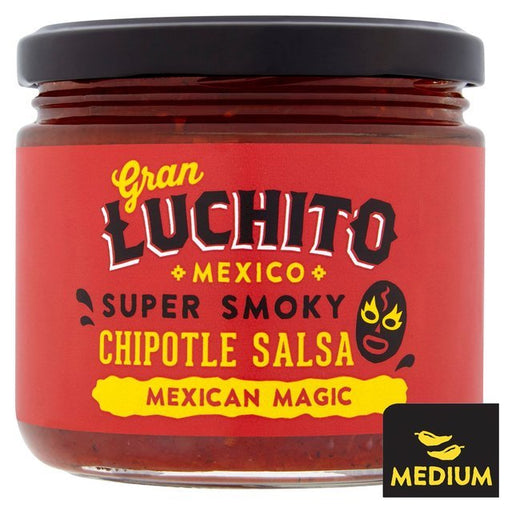 Smoky Chipotle Salsa is made in Mexico for seriously fresh flavour. Only the freshest, ripest tomatoes are fire-roasted for an unbeatable depth of flavour. Luchito adds smoky chipotle chillies, onions and garlic for a delicious, super smoky and authentic salsa.