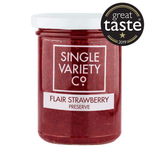 Jam packed full of British strawberries and hand made in small batches for the very best flavour, Single Variety Co's Strawberry Preserve is made using much more fruit and less sugar than traditional jams.