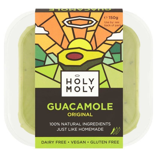 Holy Moly's original Guacamole contains only the very best, sun-ripened Hass avocados – grown on a family-owned orchard in the heart of rural Mexico. Each avocado is handpicked and hand-scooped, then combined with chunky fresh tomato, finely chopped red onion, a touch of jalapeno chilli, a squeeze of lime juice, a pinch of salt, peppering of coriander, and a tiny bit of garlic.