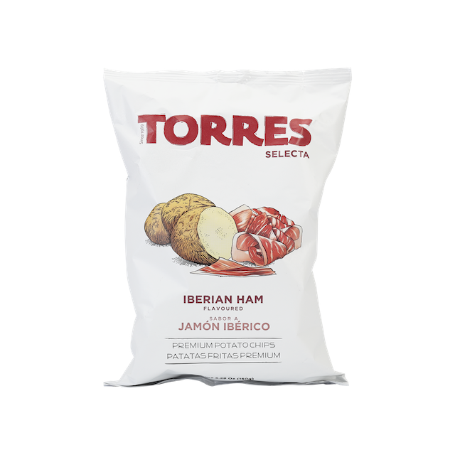 Potato chips with real Iberian ham flavour. Intense, genuine, and ideal for pairing with red wine.
