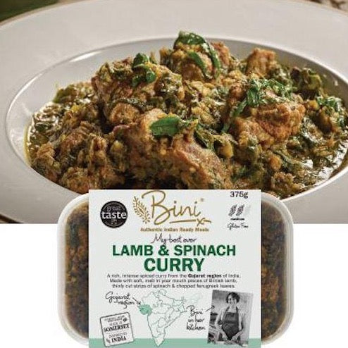 A rich, intense spiced curry from the Gujarat region of India. Made with soft, melt in your mouth pieces of British shoulder of lamb, thinly cut strips of spinach & chopped fenugreek leaves.