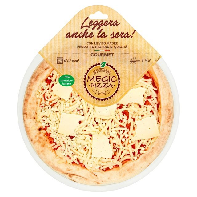 This pizza is a real must, a triumph of cheeses such as Mozzarella, Gorgonzola, Edamer and Grana Padano. A perfect blend for a very tasty meal.