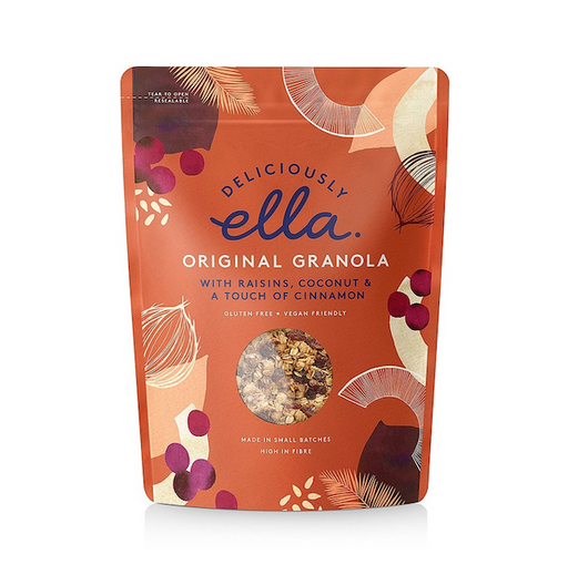 This granola is made using the original recipe from Deliciously Ella's Deli.  The almonds are crushed and mixed with gluten free oats before being tossed with cinnamon, orange juice, maple syrup, coconut chips and seeds. Once it's baked to the perfect crunch, raisins are stirred in for a little extra sweetness.
