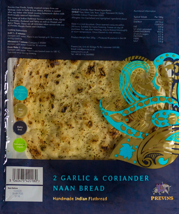 Previn's Garlic and Coriander Naan Bread (Large) x 2