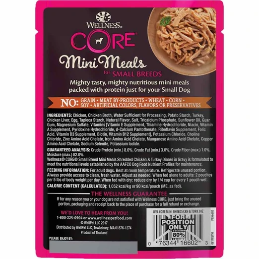 Wellness CORE Small Breed Mini Meals - Shredded Chicken & Turkey Wet Dog Food [Weight: 3 oz]