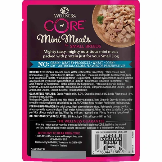 Wellness CORE Small Breed Mini Meals - Chunky Chicken & Tuna Wet Dog Food [Weight: 3 oz]
