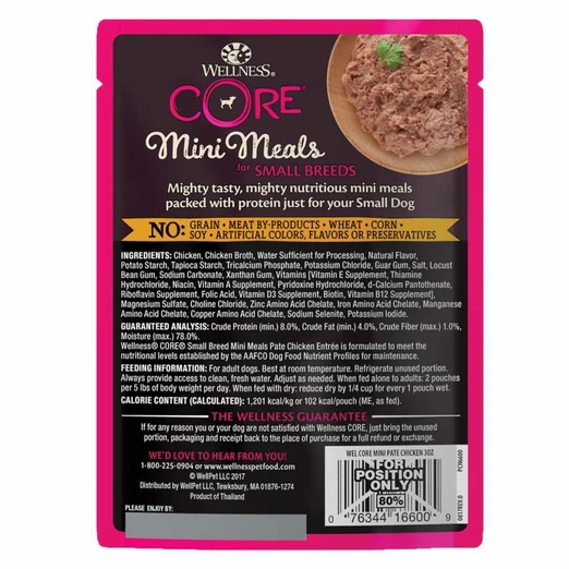 Wellness CORE Small Breed Mini Meals - Pate Chicken Wet Dog Food [Weight: 3 oz]