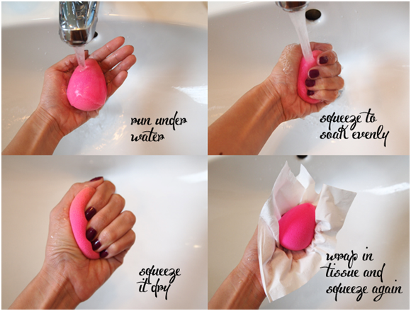 how to put on liquid foundation with a sponge
