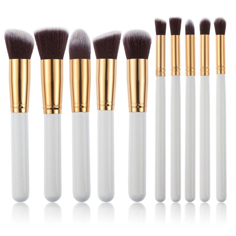 10 Piece Kabuki Brush Set WHITE,  - My Make-Up Brush Set, My Make-Up Brush Set  - 1