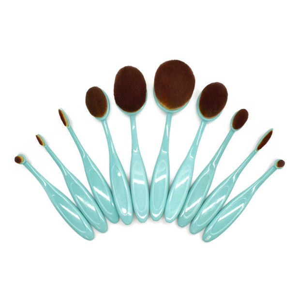 10 Piece Baby Blue Oval Brush Set